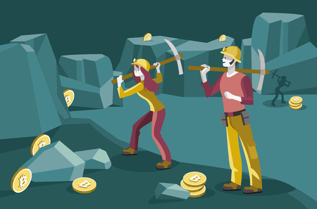 male and female miners working in a mine to obtain the virtual coins bitcoin