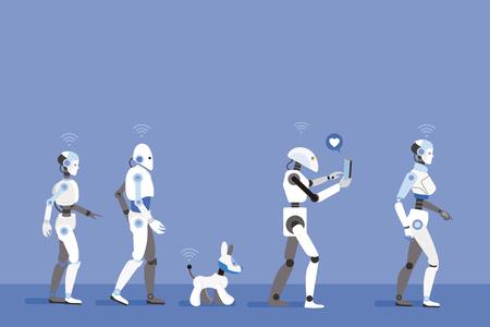 Robots Walking. Futuristic image of a near future.