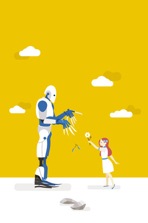 vector illustration about artificial intelligence and his risks.  A little innocent girl interacts with a gardener robot and offers him a flower Illustration