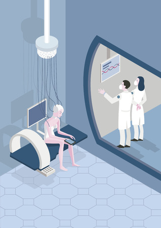 Female patient in a futuristic hospital. Two doctors examine the results of the tests and analysis. Medical concept Ilustração