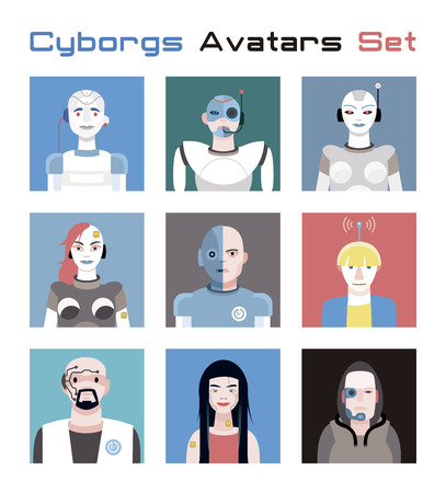 Varied set of cyborgs faces and heads for used as characters avatars. Imaginative and friendly colourful collection of happy characters, that combine the human and the machine to give a fresh and futuristic image to your social networks. Ilustração