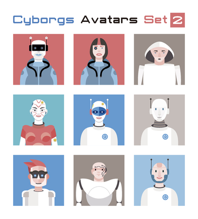 Varied set of cyborgs characters avatars. Imaginative and friendly colourful collection of happy characters. Illusztráció
