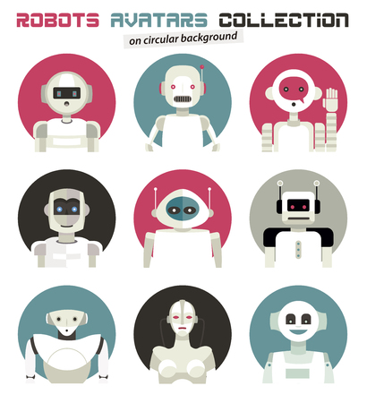 Varied collection of robots faces and heads for used as characters avatars. Imaginative and friendly colourful collection of happy andorids to give a fresh and futuristic image to your social networks. Ilustração