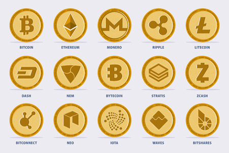 Set of the main Cryptocurrency Coin. Vector illustration with 15 criptocurrency  in flat style.