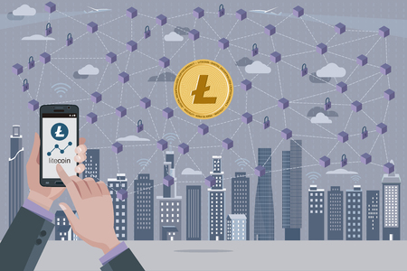 Modern City, Litecoin, cryptocurrency symbol, Blockchain transaction network with Litecoin currency.