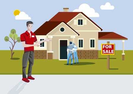 Agente de bienes raíces vendiendo una casa nueva con señal de venta.