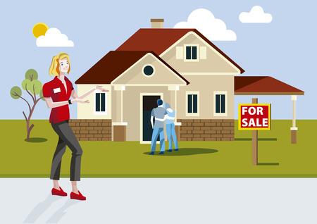 Agente de bienes raíces vendiendo una casa nueva con cartel vendido. Ilustración de vector