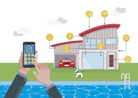 Smart home technology and automation system. Automation system with centralized control from a Mobile phone. Ilustração