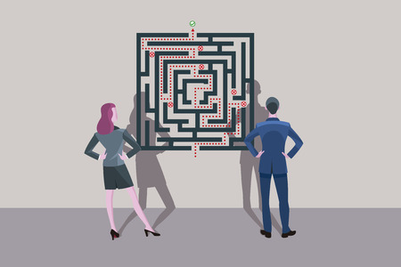 Business man and business woman standing in front of a labyrinth plane. They are looking for the solution of the problem. Ilustração