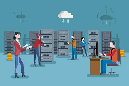 Female IT specialist and a team of servers technician in data center. Ilustração