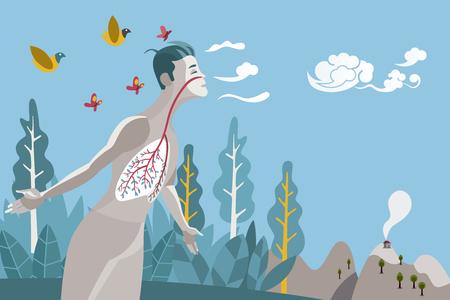 Człowiek oddychający w naturalnym i zdrowym środowisku. Jego płuca to gałęzie i liście drzewa, metafora zdrowego życia.