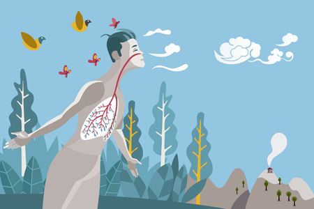 Man breathing in a natural and healthy environment. His lungs are branches and leaves of a tree, metaphor of a healthy life.
