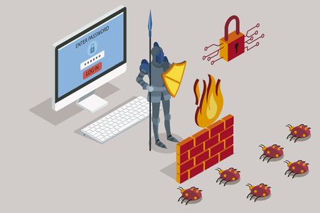 Online data security Antivirus software for work safe the web Vector illustration.