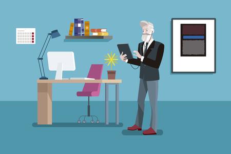 Senior Entrepreneur Man working in a office. Business senior man in modern hipster look. Ilustração