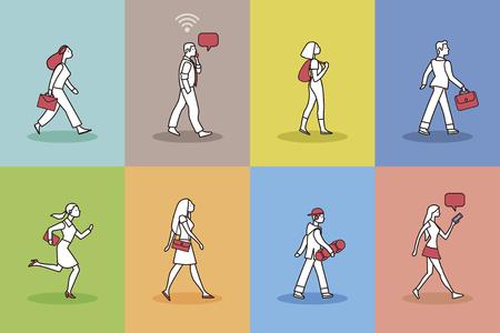 Walking People Pictogram Set. Vector illustration with 8 pictogram of people walking.