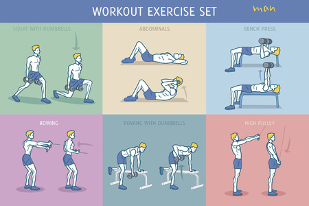 A collection of Workout Exercise Routine performed by a young strong man. Ilustração