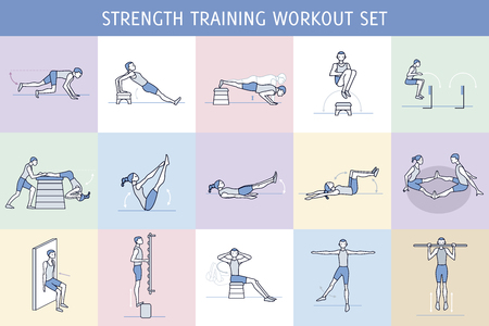 A collection of Workout Exercise Routine performed by a man and a woman in the gym, with equipment such as wall bars and vaulting horse. Simple characters like pictograms.  Ilustração