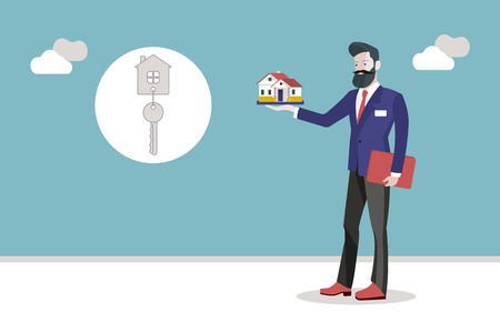 Real estate agent man holding a miniature house in his hand. Ilustração
