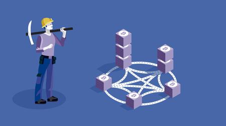 Blockchain concept slider banner illustration