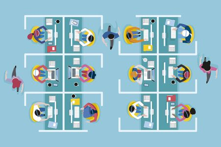 Top view of an office call center with workers working with computers and headset in cubicles.Vector illustration.
