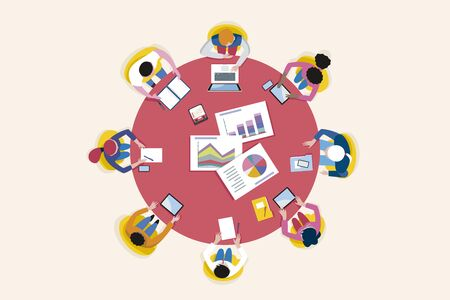 Top view business meeting arround a circular table. Vector illustration.