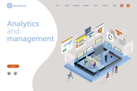 Vector illustration concept. A teamwork in a analytics and management company. The big screens sowing data, Infographics and numbers. Landing page design template. Easy to edit and customize. Vector illustration.