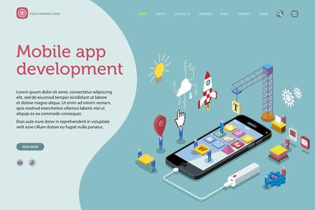 Notion d'illustration vectorielle. Une équipe travaille de manière créative ensemble sur une application mobile; développeurs, référencement, réseau social. Modèle de page de destination. Facile à modifier et à personnaliser. Illustration vectorielle isométrique.