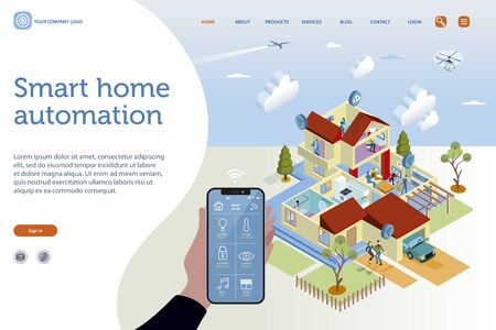 Smart home isometric vector illustration concept. House technology with wireless centralized control. Home automation assistant controlled by the interface of a smartphone.Design template, easy to edit and customize. Ilustração