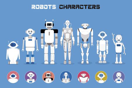 Set of robots faces and heads for used characters avatars. Imaginative and friendly collection of happy robots characters. Artificial Intelligence Technology. Vector illustration.