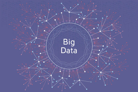Big data vector concept illustration. Futuristic graphic illustration about visual data and social media analitics.