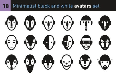 Avatars faces in a minimalist black and white style. Collection of modern characters. Ilustração