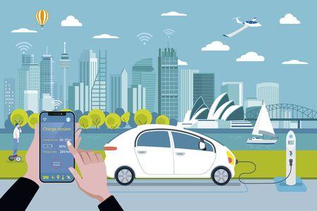 Borne de recharge pour voitures électriques. Charger une voiture électrique avec une application pour smartphone. En arrière-plan, une ligne d'horizon panoramique de Sydney. Illustration vectorielle plane. Vecteurs