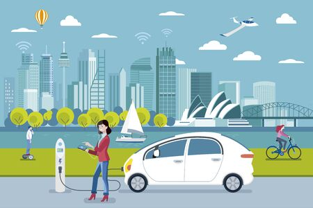 Electric car charging point. A woman charging her electric car with a application. On the background, a panoramic Sydney skyline. Flat vector illustration.
