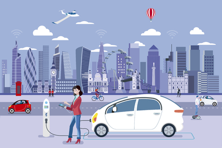 Woman Charging an electric car in a London street with people walking and the City Skyline at the background. Flat vector illustration. Ilustração