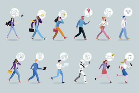 Set of business men and women walking while using their mobile devices. Working on the move without an office.