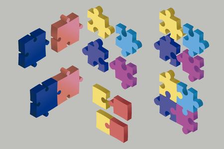 Isometrische Puzzleteile schweben in der Luft. Kooperations- und Lösungskonzept. Einige Teile verbanden sich, andere trennten sich. Vektor-Illustration.