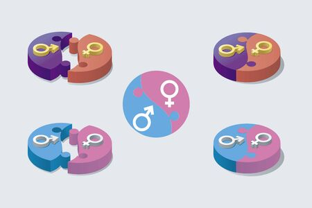 Male and female symbol in puzzle pieces.masculine and femenine Genders Icon. Some pieces joined and others separated. Vector illustration.