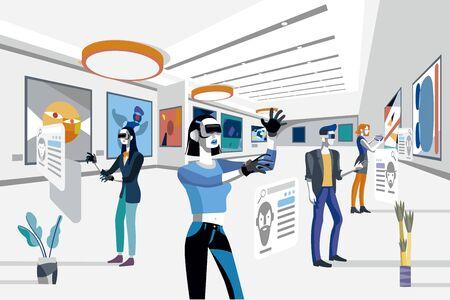 Fajni ludzie patrzący na nowoczesne abstrakcyjne obrazy na wystawie sztuki w urządzeniach z technologią rozszerzonej rzeczywistości. Płaskie ilustracji wektorowych. Mężczyźni i kobiety w muzeum sztuki.