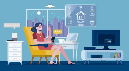 Woman controlled a Modern Smart Home by a smartphone. Lifestyle concept. Vector illustration.
