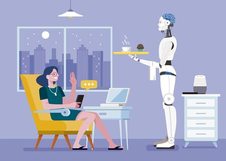 Woman controlled a Modern Smart Home by a smartphone. The robot serves the woman a coffee. Lifestyle concept. Vector illustration. Ilustração
