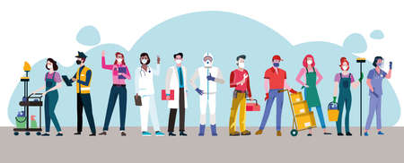 Essentials Workers wit different occupations wearing masks in Coronavirus Pandemic