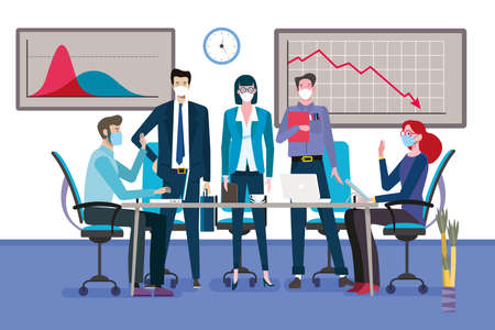 Group of business men and women as a teamwork standing around a meeting table with face mask. Graph showing business decline for the coronavirus. Vector illustration.