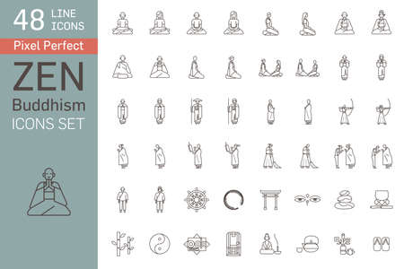 Set of zen buddhism icons. Activities of Zen Buddhist monks and nuns in the monastery. Main buddhistic symbols.