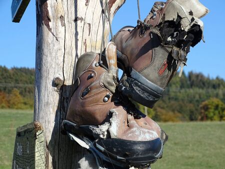 The hiking boots are worn now.