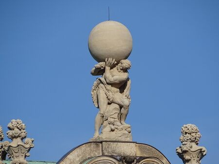 Hercules carries the globe out of his shoulders (Wallpavillon in Dresden Zwinger - Saxony / Germany)