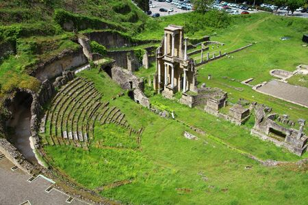 View of the Roman theater and the thermal baths of Volterra, in Tuscany, Italy