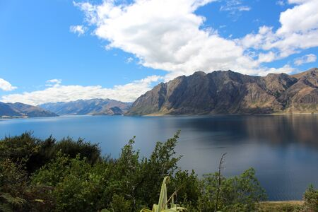 View of Lake Wanaka, New Zealand Stockfoto - 150296378