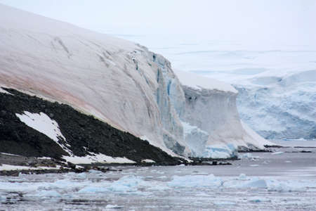 Glaciers in the bay on the Danco Coast in Antarctica