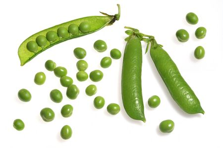 green pea in pod on white background