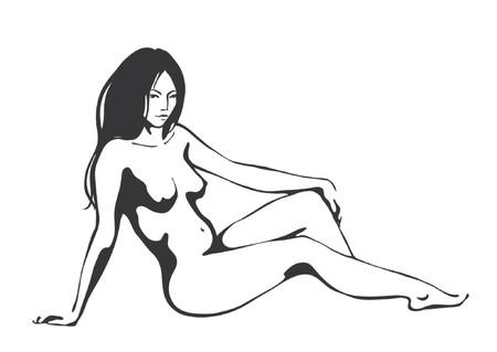 naked girl: Beautiful nude women, black and white Illustration